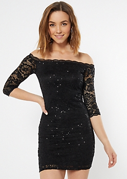 Black Off The Shoulder Lace Sequin Bodycon Dress