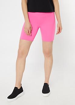 Neon Fuchsia Stretchy Bike Shorts