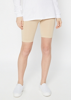 Beige Stretchy Bike Shorts