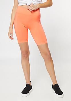 Neon Orange Stretchy Bike Shorts