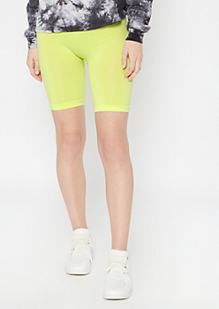 Neon Green Stretchy Bike Shorts