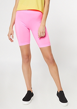 Neon Pink Stretchy Bike Shorts