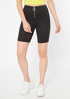 Black Zip Front Super Soft Bike Shorts