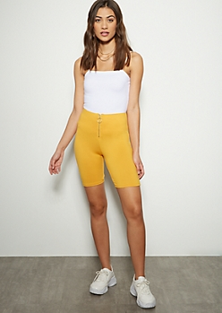 Mustard Zip Front Super Soft Bike Shorts