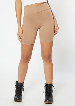 Taupe High Waisted Super Soft Bike Shorts