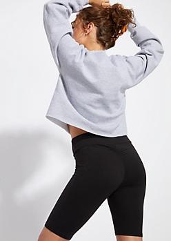 Black Super Soft Ruched Bike Shorts