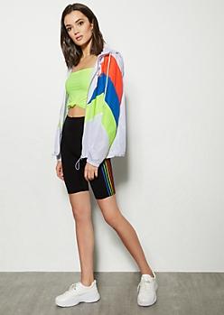 Black Rainbow Side Striped Super Soft Bike Shorts