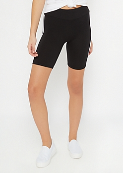 Black Side Striped Bike Shorts