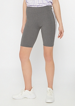 Gray Side Stripe Super Soft Bike Shorts
