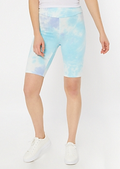 Blue Tie Dye Bike Shorts