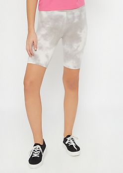 Gray Tie Dye Bike Shorts