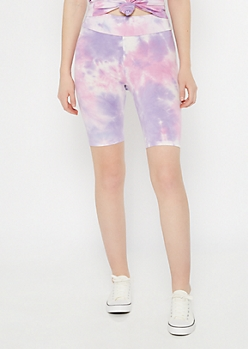 Purple Tie Dye Bike Shorts