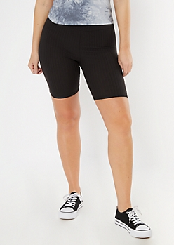 Black Super Soft Ribbed Bike Shorts
