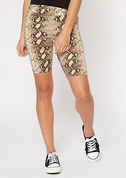 Snakeskin Print Super Soft Bike Shorts