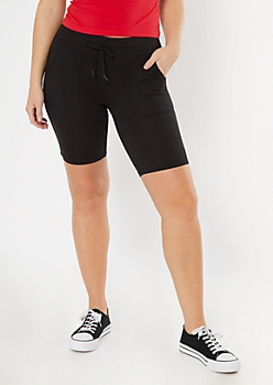 Black Front Pocket Bike Shorts