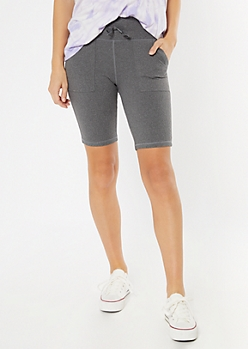 Gray Front Pocket Bike Shorts