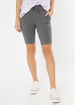 Gray Front Pocket Bike Shorts