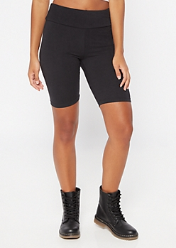 Black Mid Rise Super Soft Bike Shorts