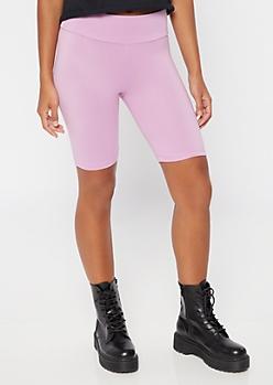 Lavender Mid Rise Super Soft Bike Shorts