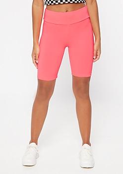 Neon Fuchsia Mid Rise Super Soft Bike Shorts