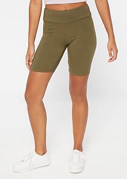 Olive Mid Rise Super Soft Bike Shorts