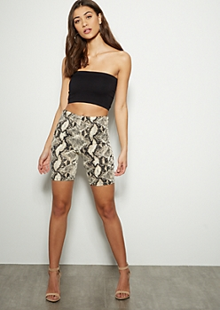 Snakeskin High Waisted Bike Shorts