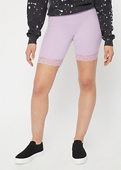 Lavender Super Soft Lace Trim Bike Shorts