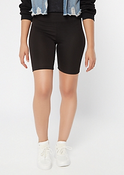 Black Ribbed Knit Bike Shorts