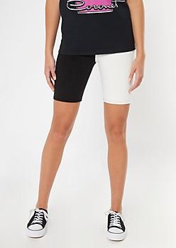 Black White Colorblock Bike Shorts