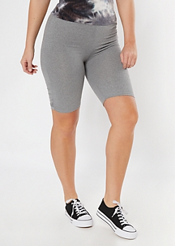 Gray Super Soft Ruched Side Bike Shorts