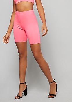 Neon Pink High Waisted Bike Shorts