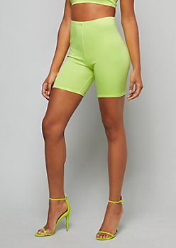 Neon Green High Waisted Bike Shorts