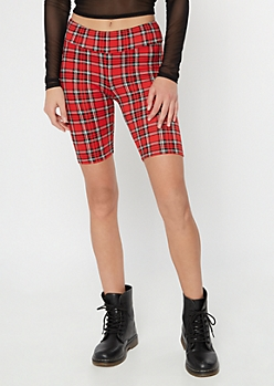 Red Plaid Super Soft Bike Shorts