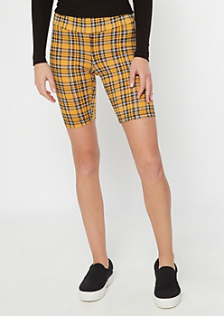 Yellow Plaid Super Soft Bike Shorts