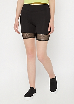 Black Mesh Insert Bike Shorts