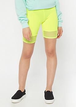 Neon Yellow Mesh Insert Bike Shorts