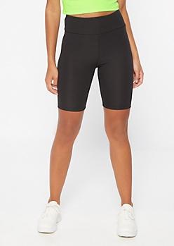Black High Waisted Ribbed Knit Bike Shorts