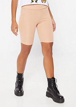 Taupe High Waisted Ribbed Knit Bike Shorts