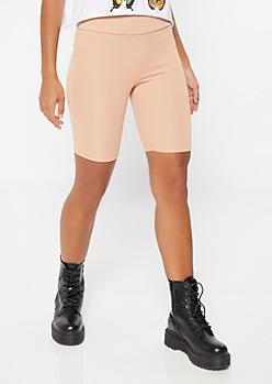 Taupe High Waisted Ribbed Knit Bike Shorts