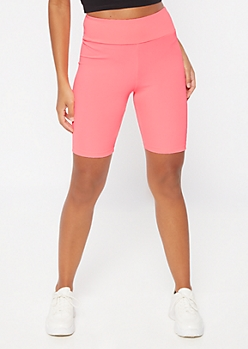 Neon Fuchsia High Waisted Ribbed Knit Bike Shorts