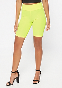 Neon Yellow High Waisted Ribbed Knit Bike Shorts