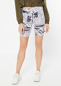 White Fashion Newspaper Print Bike Shorts