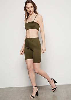 Dark Olive High Waisted Bike Shorts