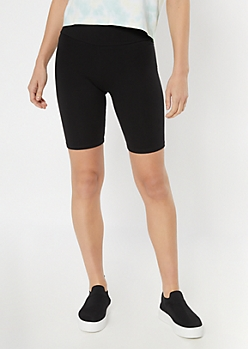 Black High Rise Bike Shorts