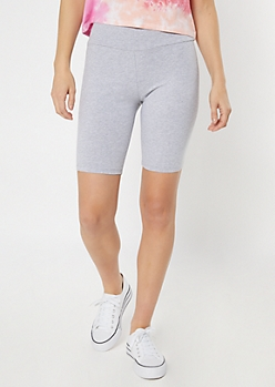 Heather Gray High Rise Bike Shorts