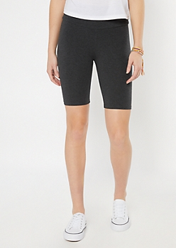 Charcoal Gray High Rise Bike Shorts
