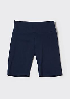 Navy High Rise Bike Shorts