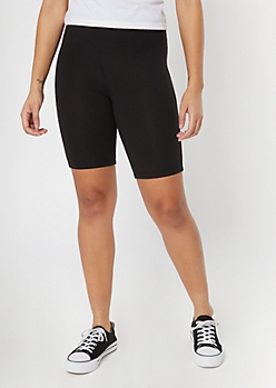 Black Super Soft Mid Rise Bike Shorts
