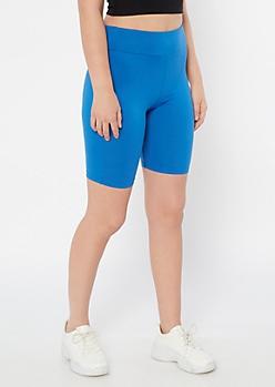 Blue Super Soft Mid Rise Bike Shorts