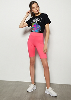 Neon Pink Super Soft Mid Rise Bike Shorts
